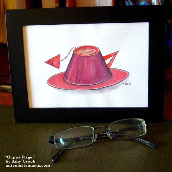 Cuppa Rage, framed art by Amy Crook