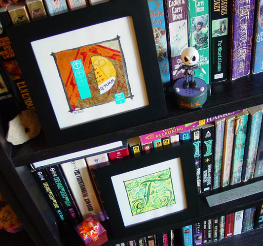 F is for Flourish and D is for Dada, framed art by Amy Crook