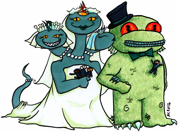 Mother Hydra Weds Father Dagon, cartoon by Amy Crook