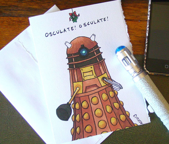 Osculate! Dalek holiday card by Amy Crook at Etsy