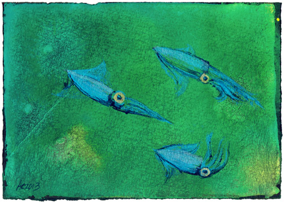 A Trio of Dancing Squid by Amy Crook