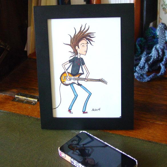 Headbanging Hair, framed art by Amy Crook