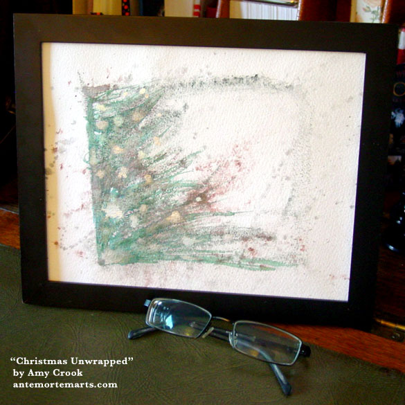 Christmas Unwrapped, framed art by Amy Crook