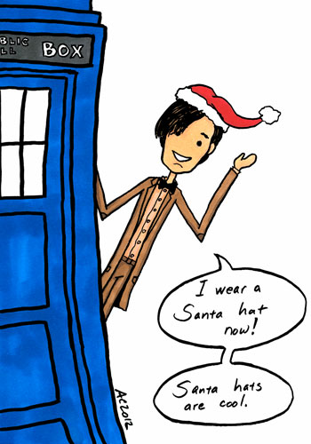 Santa Hats Are Cool, Doctor Who parody art by Amy Crook