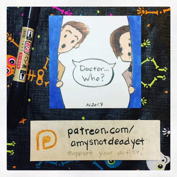 Doctor...Who? parody fan art by Amy Crook