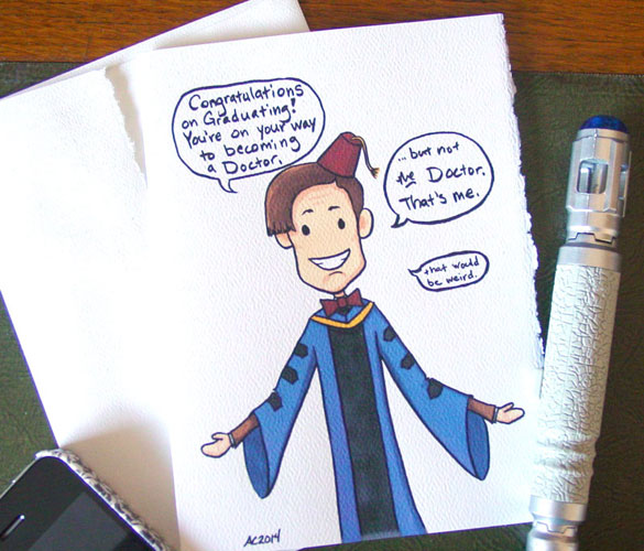 Doctor Who graduation card on Etsy by Amy Crook