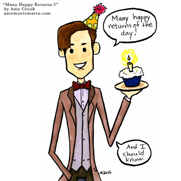 Many Happy Returns, Doctor Who parody fan art by Amy Crook