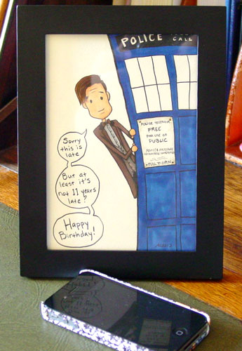 Not That Late, Really, framed Doctor Who art by Amy Crook