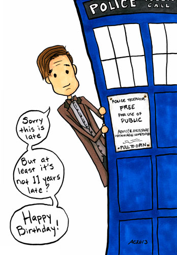 Not That Late, Really, Doctor Who fan art by Amy Crook