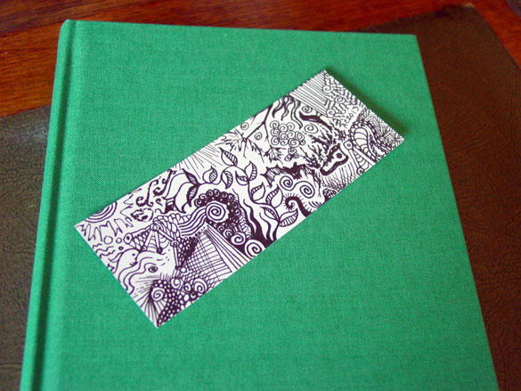 Doodle Bookmark 1, with book, by Amy Crook
