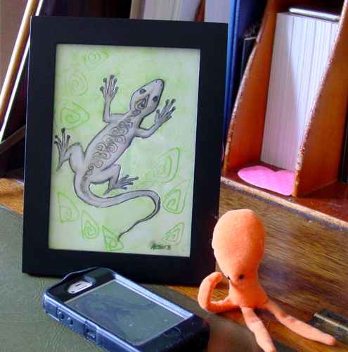 Drunk Lizard, framed art by Amy Crook