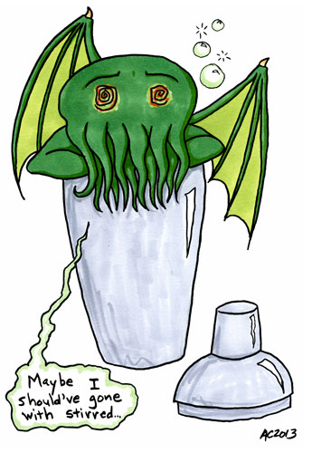 drunk Cthulhu in a cocktail shaker