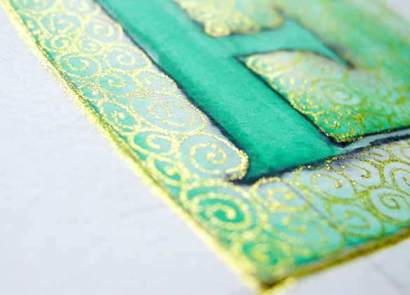 E is for Emboss, detail, by Amy Crook