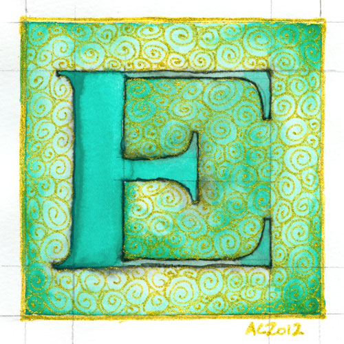 E is for Emboss, calligraphic illumination by Amy Crook