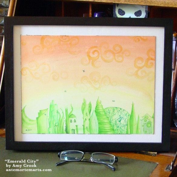 Emerald City, framed art by Amy Crook