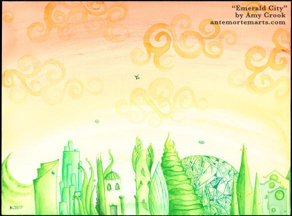 Emerald City, fantastical city skyline by Amy Crook