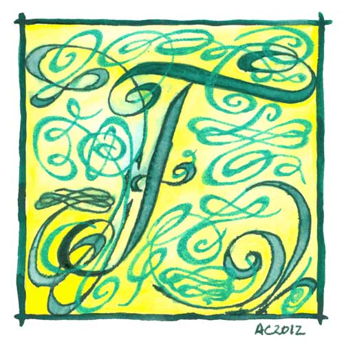 F is for Flourish, calligraphic illumination by Amy Crook
