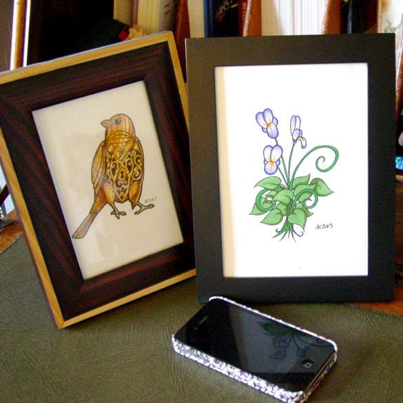 Fairy Flower & Horace, framed art by Amy Crook