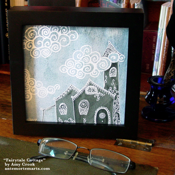 Fairytale Cottage, framed art by Amy Crook