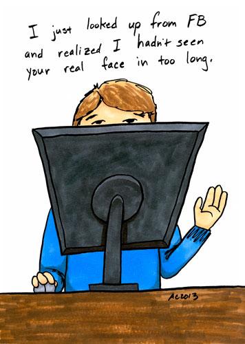 Face not Facebook, cartoon by Amy Crook