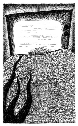 A Series of Uncanny Fears: Behind You, pen and ink art by Amy Crook
