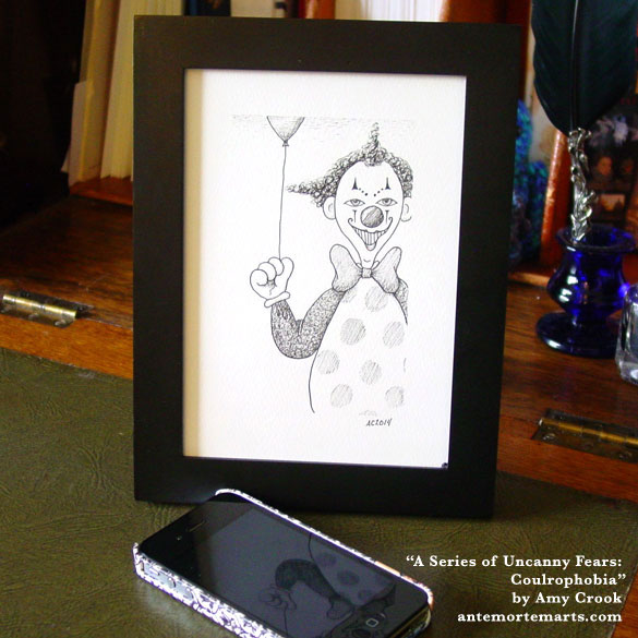 A Series of Uncanny Fears: Coulrophobia, framed art by Amy Crook
