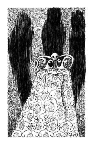 A Series of Uncanny Fears: Sleep Paralysis, pen and ink art by Amy Crook