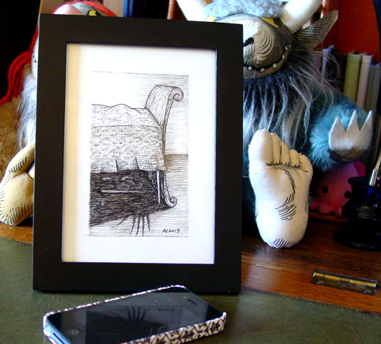 A Series of Uncanny Fears: Under the Bed, framed art by Amy Crook