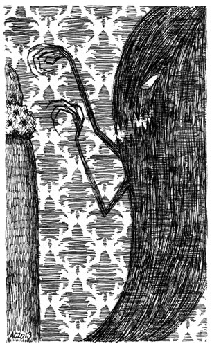 A Series of Uncanny Fears: Your Shadow, pen and ink art by Amy Crook