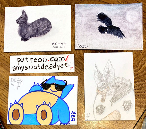 sketch cards of a cat, a crow, a snorlax, and a bat