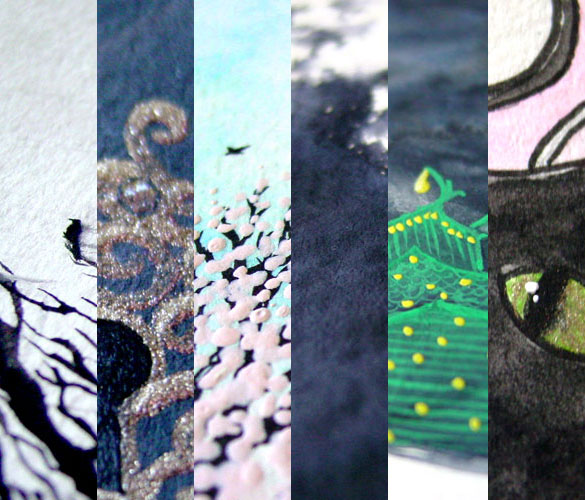 details of six paintings by Amy Crook