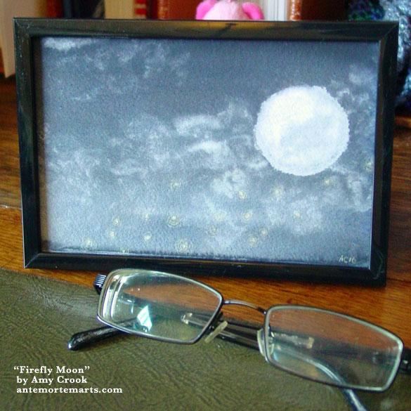 Firefly Moon, framed art by Amy Crook