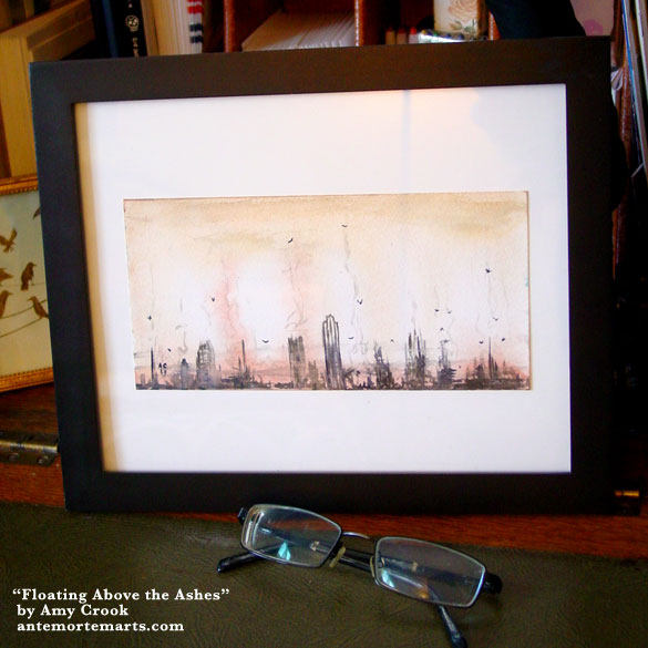 Floating Above the Ashes, framed art by Amy Crook