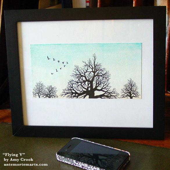 Flying V, framed art by Amy Crook