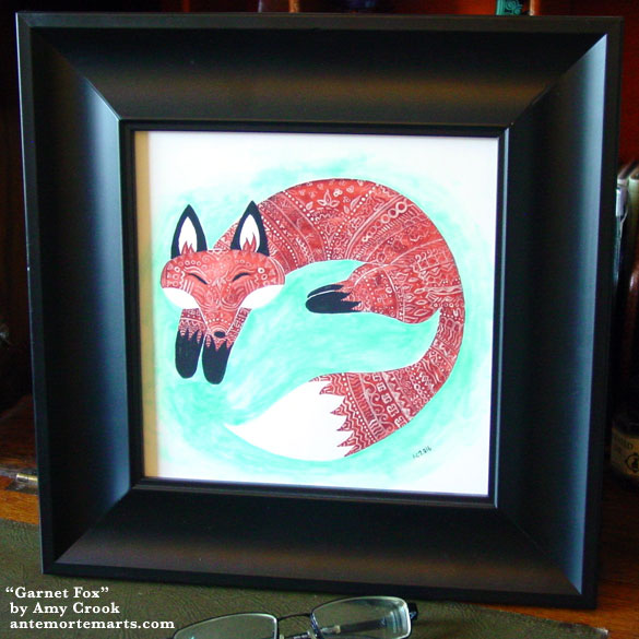 Garnet Fox, framed art by Amy Crook