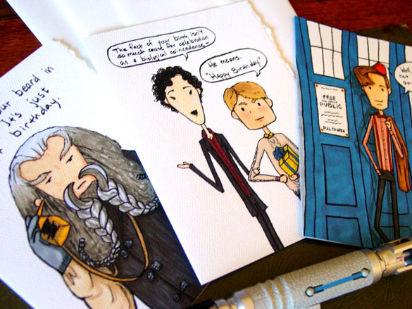 geeky birthday cards by Amy Crook on Etsy