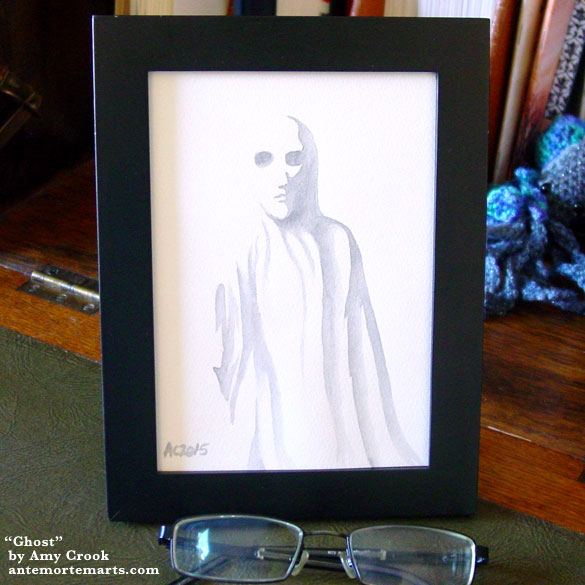 Ghost, framed art by Amy Crook