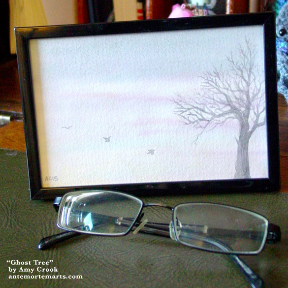 Ghost Tree, framed art by Amy Crook