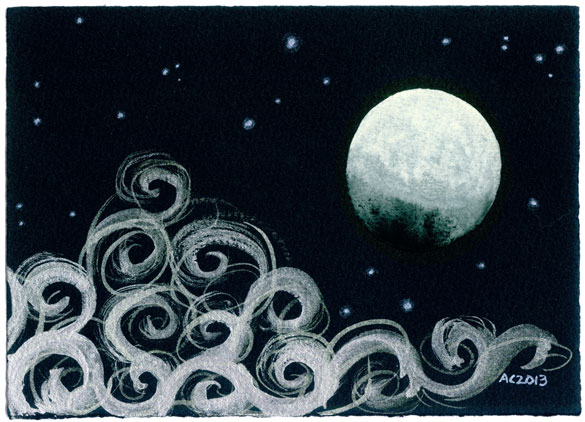 Gibbous Moon, watercolor by Amy Crook