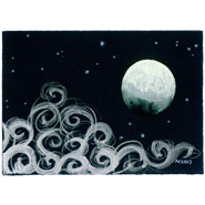 Gibbous Moon, 7x5 watercolor on paper by Amy Crook