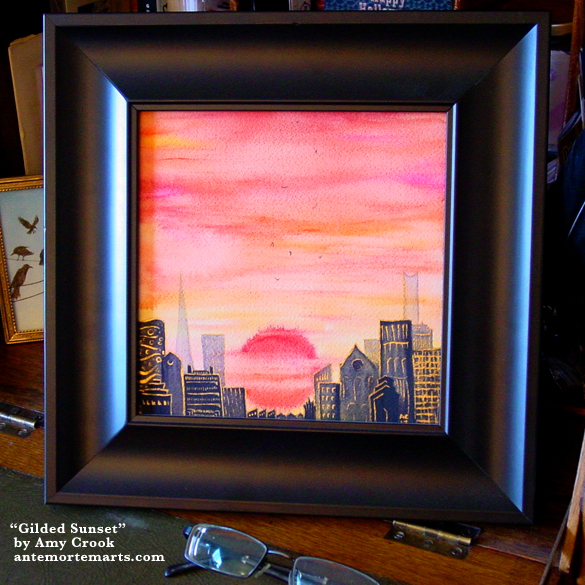 Gilded Sunset, framed art by Amy Crook