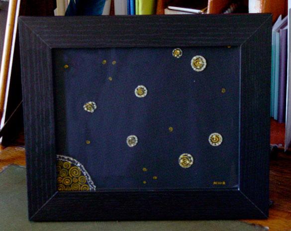 Golden Moon, framed art by Amy Crook