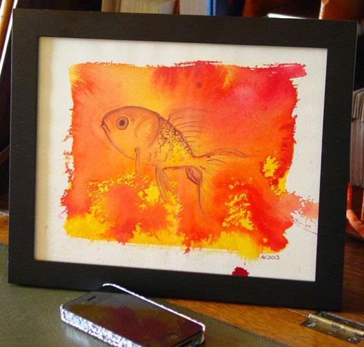 Goldfish, framed art by Amy Crook