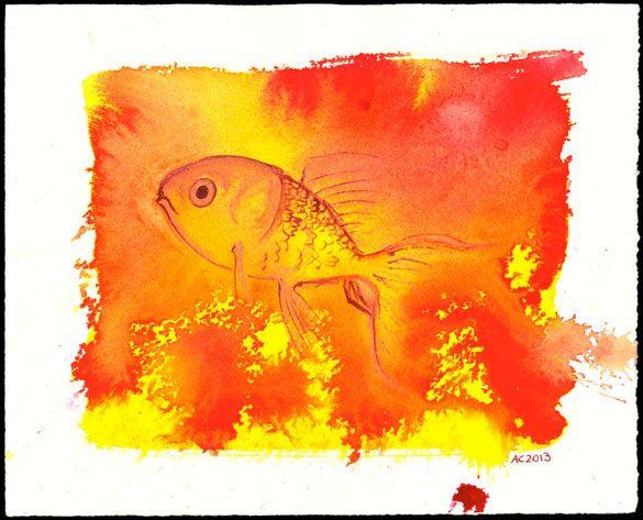 Goldfish, watercolor by Amy Crook