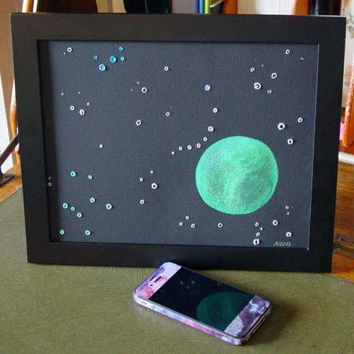 Green Cheese Moon, framed art by Amy Crook