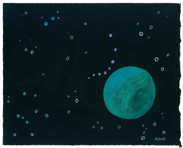 Green Cheese Moon watercolor by Amy Crook
