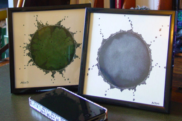 Growth 2 and Growth, framed art by Amy Crook