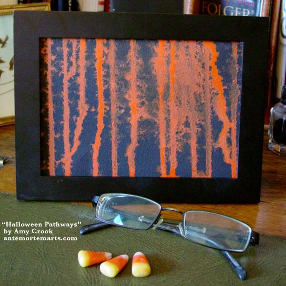Halloween Pathways, framed art by Amy Crook