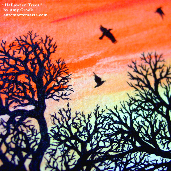 Halloween Trees, detail, by Amy Crook
