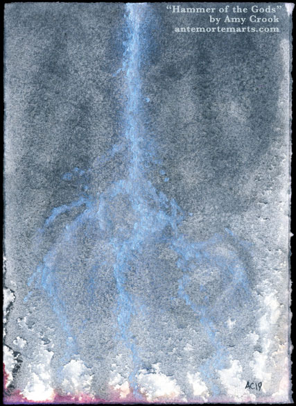 Hammer of the Gods by Amy Crook, an abstract watercolor of shiny lightning against blue stormclouds